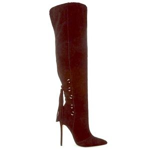 Steve Madden over knee tassel lace up boots 7.5
